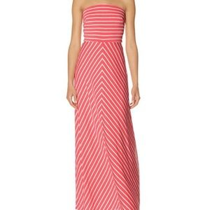 The Limited Coral Chevron Strapless Maxi Dress